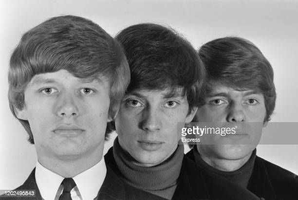 British drummer Gibson Kemp, German bassist Klaus Voorman and British singer and guitarist Paddy Chambers , who make up 'Paddy, Klaus and Gibson', in...