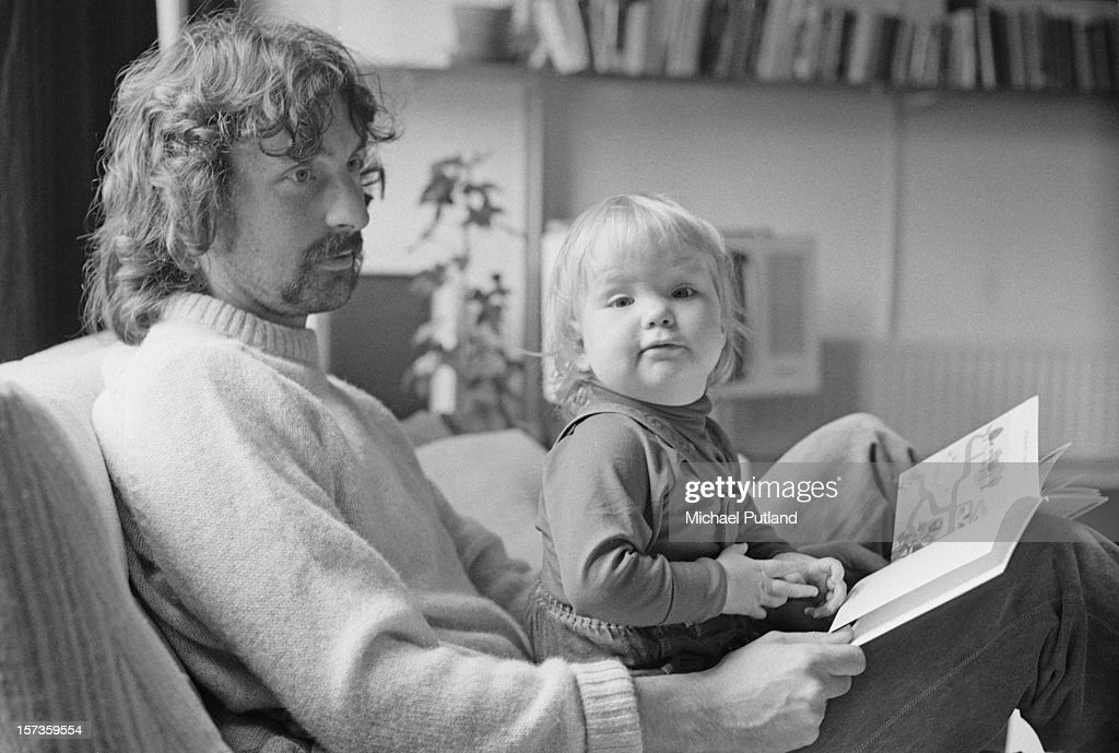 British drummer Nick Mason, of rock group Pink Floyd, with one of his daughters, 12th October 1972.