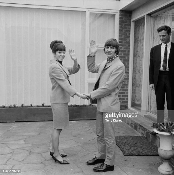 British drummer Ringo Starr of rock group the Beatles with his new bride, Maureen Cox, at a bungalow in Hove the day after their wedding, 12th...