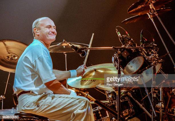 British drummer singer and songwriter Phil Collins performs at Ahoy as part of his The Trip into the Light World Tour Rotterdam Netherlands 28...