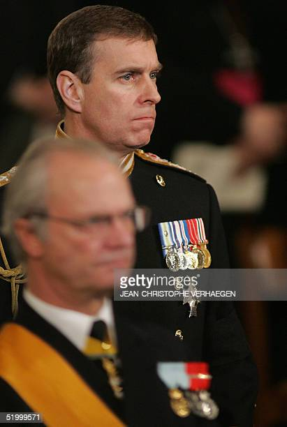 British Duke of York Andrew attends the funeral of Luxembourg Grand Duchess Josephine Charlotte in Notre Dame de Luxembourg's cathedral 15 January...