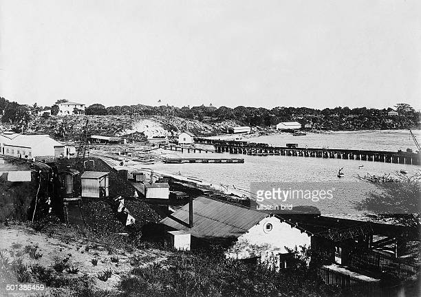 Track section of the Uganda Railway Probably on the shore of Lake Victoria probably in the 1910s