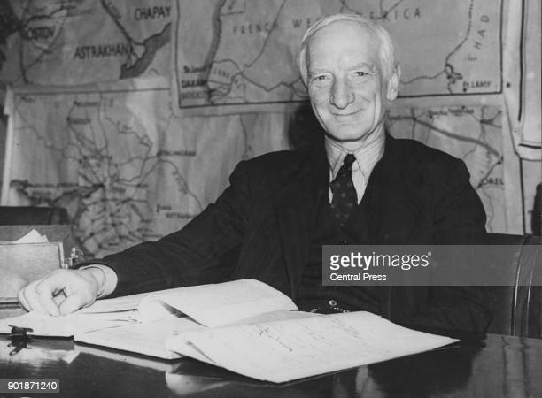 British economist Sir William Beveridge with his report on Social Security during a press conference at the Ministry of Information London 1st...