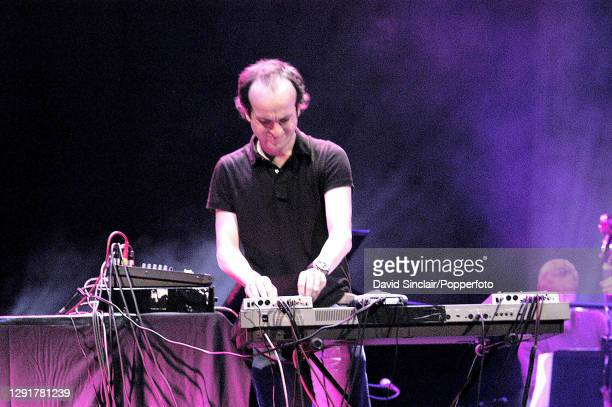 British electronic musician Matthew Herbert performs live on stage during a Jazz Britannia concert at the Barbican in London on 12th February 2005.