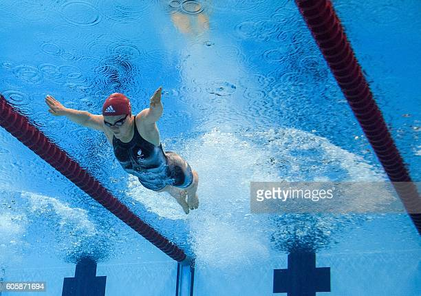 British Ellie Simmonds competes in the Women's 100m Breaststroke SB6 Heats Swimming at the Olympic Aquatics Stadium during the Rio 2016 Paralympic...