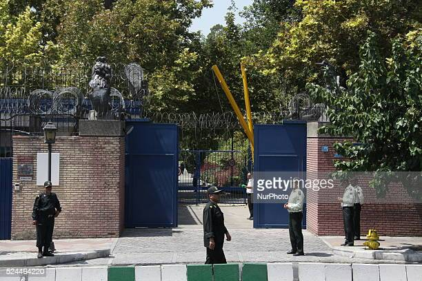 British embassy as Britain's Foreign Secretary Philip Hammond visits Iran to reopen it on August 23, 2015 in the capital Tehran. The decision of...