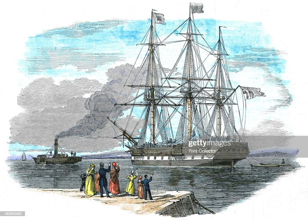 British emigrant ship being towed out of harbour before setting sail for Sydney, Australia. : News Photo