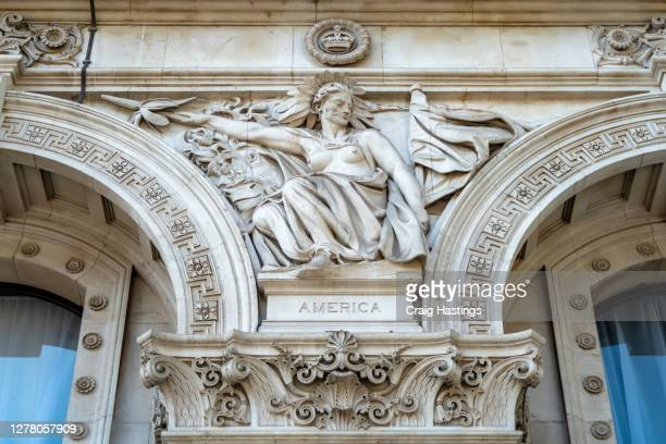 british empire foreign, commonwealth and development office facade - development stock pictures, royalty-free photos & images