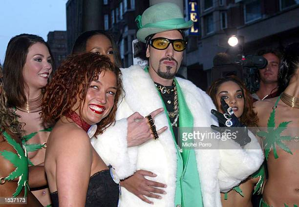 British entertainer Ali G and Katja Schuurman attend the Dutch premiere of his movie 'Indahouse' April 23 2002 in Amsterdam Netherlands