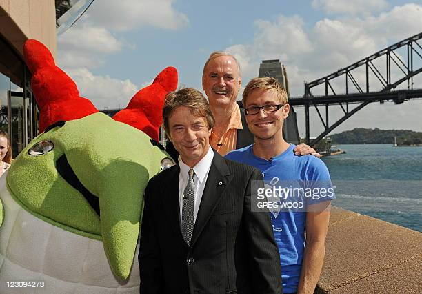 British entertainer and comedy legend John Cleese joins comedy costars Martin Short of Canada and Russell Howard of Britain in front of the Sydney...