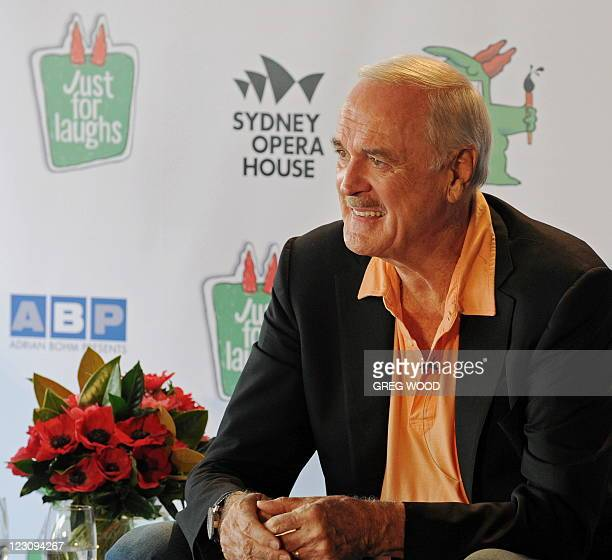 British entertainer and comedy legend John Cleese smiles during a press conference at the Sydney Opera House on August 31 2011 Cleese will join an...