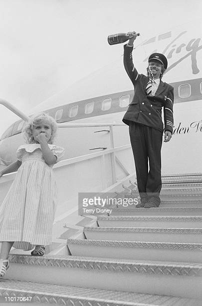 British entrepreneur Richard Branson inaugurates his new airline Virgin Atlantic Airways on the steps of the Boeing 747200 'Maiden Voyager' 22nd June...
