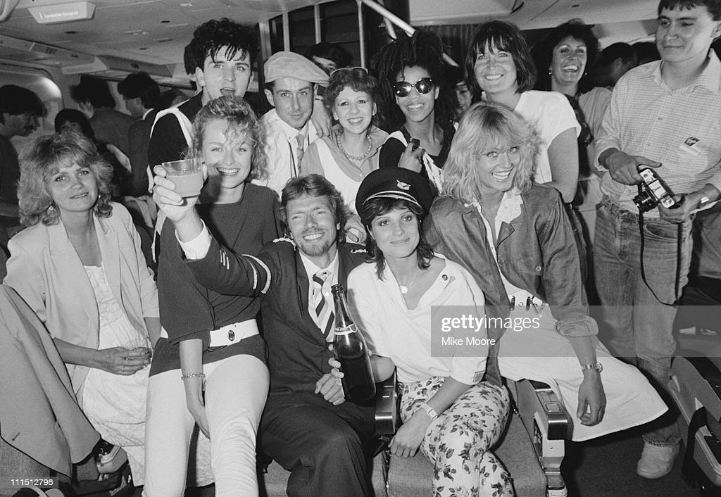 British entrepreneur Richard Branson inaugurates his new airline Virgin Atlantic Airways, 24th June 1984. Holly Johnson, Bonnie Langford and Suzanne Danielle are amongst the celebrity guests.