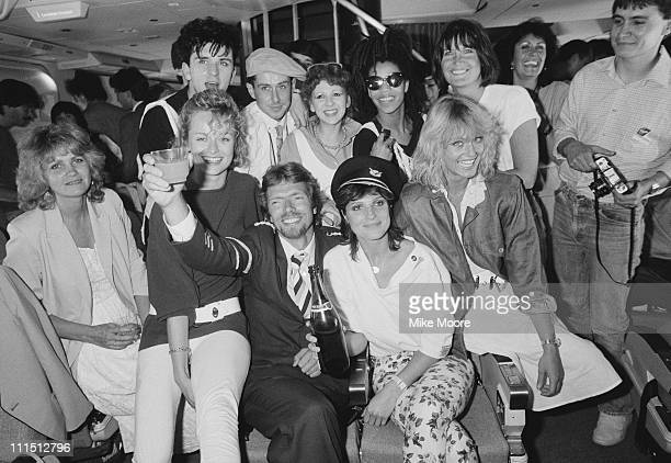 British entrepreneur Richard Branson inaugurates his new airline Virgin Atlantic Airways 24th June 1984 Holly Johnson Bonnie Langford and Suzanne...