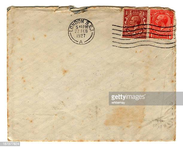 british envelope from 1927 - envelope stock pictures, royalty-free photos & images