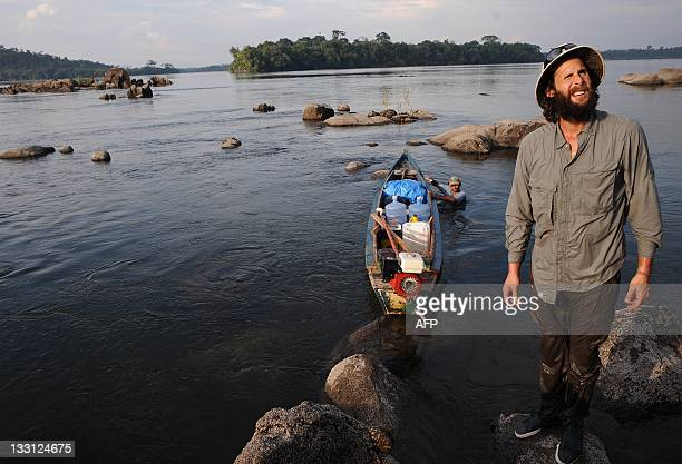 British environmentalist David de Rothschild founder the community of adventurous environmentalists Myoo stands on a rock in the Xingu River one of...