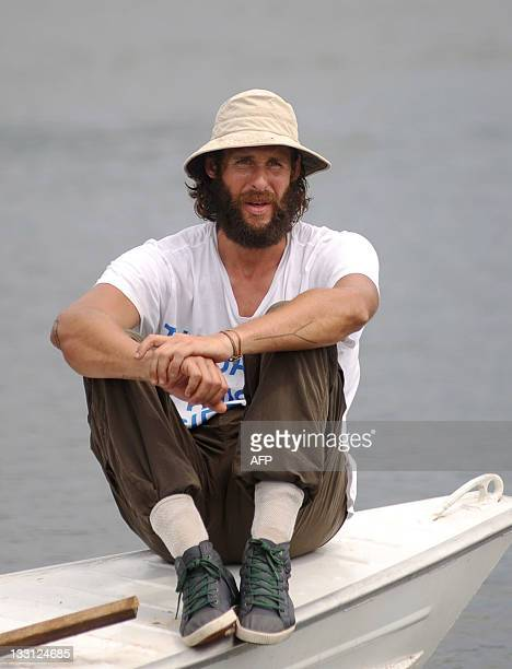 British environmentalist David de Rothschild founder the community of adventurous environmentalists Myoo looks as a totem pole is being installed on...