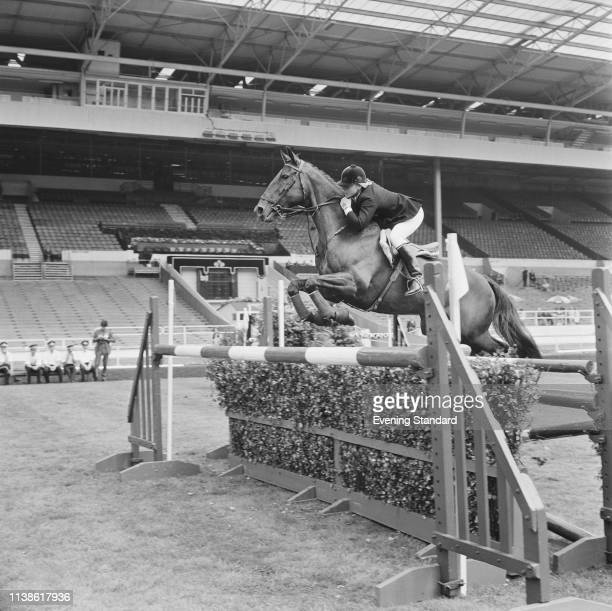 British equestrian Ann Moore at a show jumping event at Wembley Stadium London UK 29th July 1969