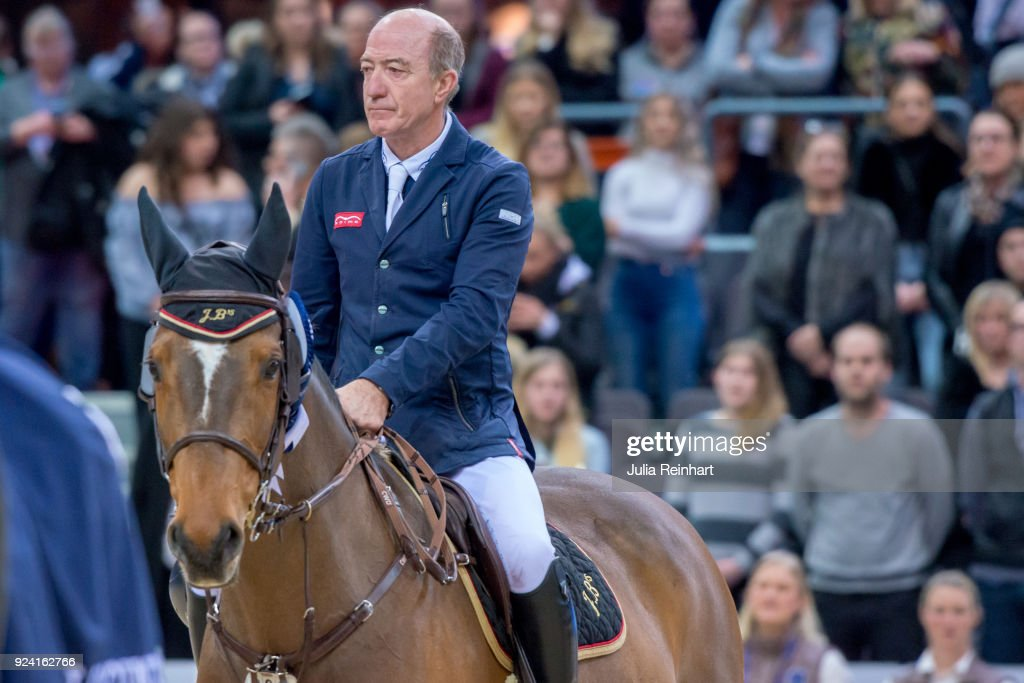British equestrian Michael Whitaker on JB's Hot Stuff places third in the FEI Longines World Cup jumping during the Gothenburg Horse Show in Scandinavium Arena on February 24, 2018 in Gothenburg, Sweden.