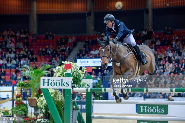 British equestrian Michael Whitaker on JB's Hot Stuff places third in the FEI Longines World Cup jumping during the Gothenburg Horse Show in...