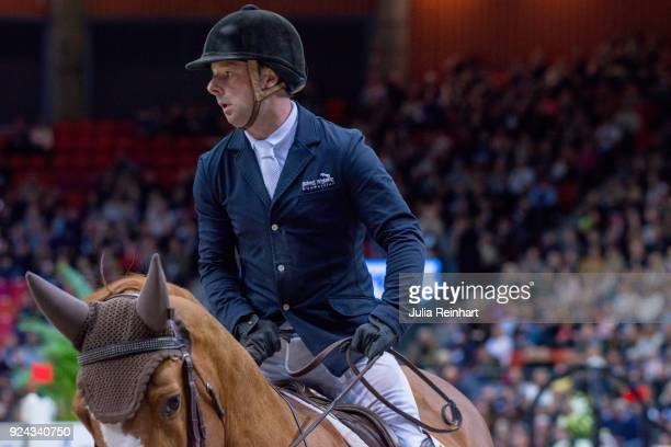 British equestrian Robert Whitaker on Nobel Warrior rides in the Accumulator Show Jumping Competition during the Gothenburg Horse Show in...