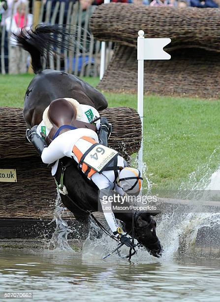 British equestrian Ruth Edge competes on Muschamp Impala to fall at the lake during the 2008 Mitsubishi Motors Badminton Horse Trials in Badminton...