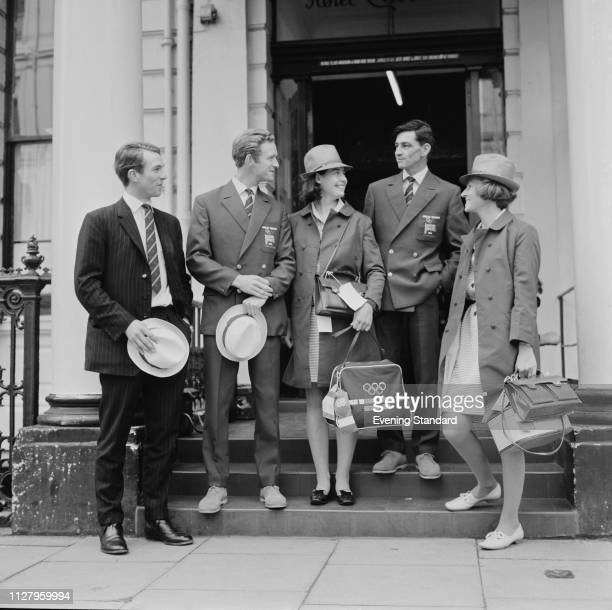 British equestrians, members of the Olympic Team, Mark Phillips, Richard Meade , and Jane Holderness-Roddam with member of the Olympic staff Sargent...