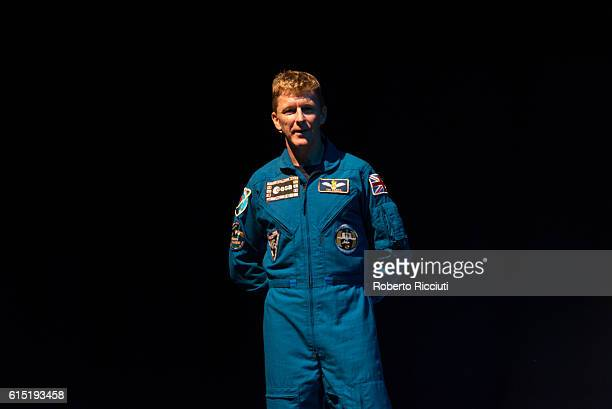 British ESA astronaut Tim Peake speaks on stage for 'Experiments in space' at Usher Hall on October 17 2016 in Edinburgh Scotland