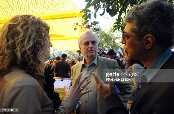 British ethologist evolutionary biologist and author Richard Dawkins interacts with auhors during DSC Jaipur Literature Festival in Jaipur on January...