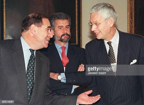 British European Commission VicePresident Sir Leon Brittan gestures to Dutch EU Minister Hans Van Den Broek while Spanish joint VicePresident Manual...