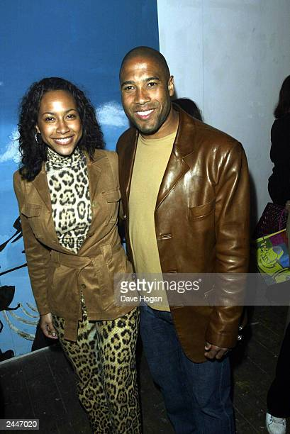 British exfootballer John Barnes and wife arrive at the premiere of the film Scooby Doo at the Warner Village Cinema Islington on July 3 2002 in...