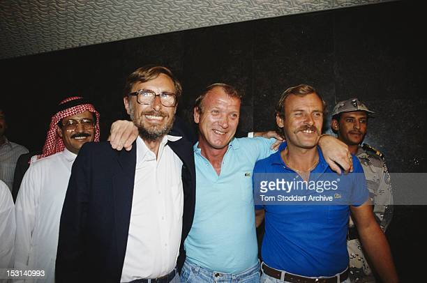 British expatriates Keith Barkworth Mike Teesdale and Ivan Manning arrive in Saudi Arabia after fleeing Iraq by boat at the beginning of the Gulf War...