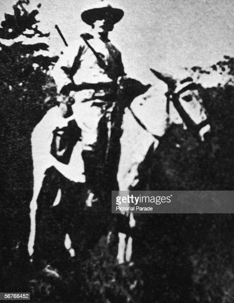 British explorer Colonel Percy Fawcett sits atop the horse which he rode to the edge of the jungle at which point he said goodbye to his local guides...