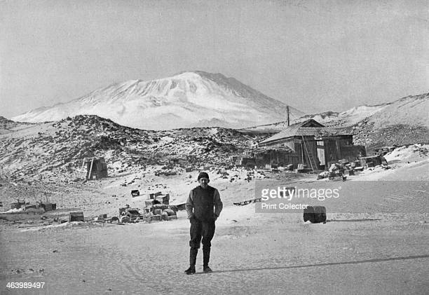 British explorer Ernest Shackleton at the Cape Royds base camp Antarctica 1908 Mount Erebus in the background Shackleton during his expedition of...