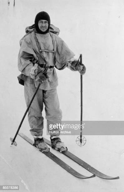 British explorer Robert Falcon Scott on skis during his doomed expedition to the Antarctic circa 1912