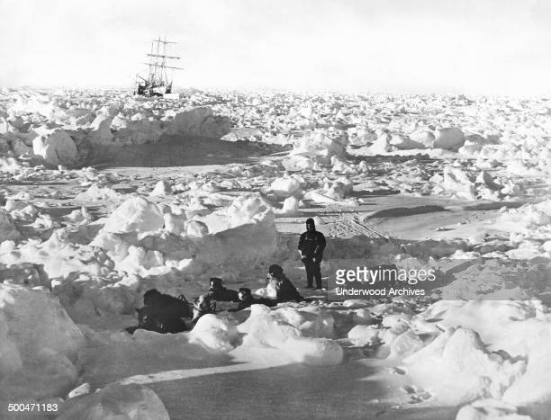 British explorer Sir Ernest Shackleton's ship the Endurance caught in the ice of the Weddell Sea where it eventually sank Antarctica 1915 In the...