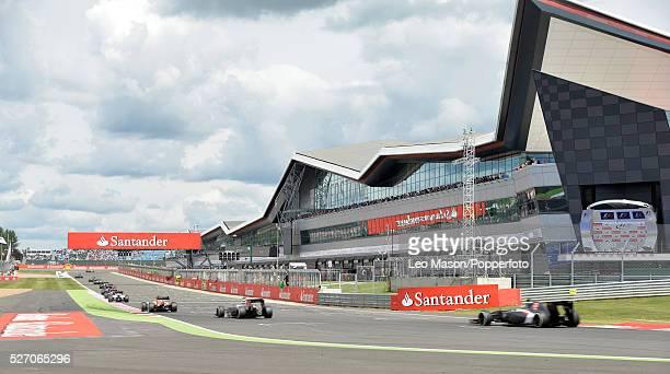 British F1 Grand Prix Silverstone UK General view of restart Main grandstand