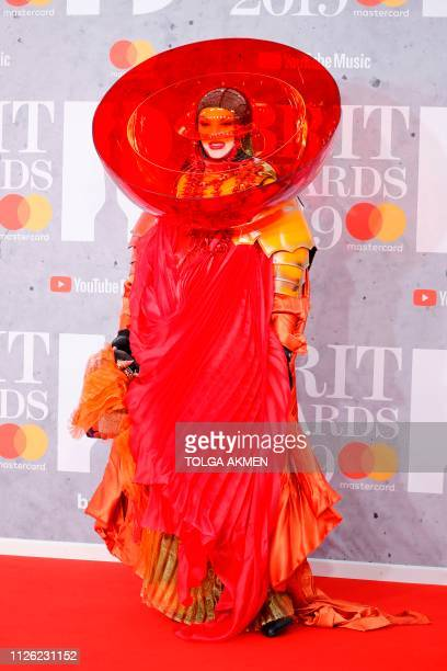 British fabric sculptor and designer Daniel Lismore poses on the red carpet on arrival for the BRIT Awards 2019 in London on February 20 2019 /...