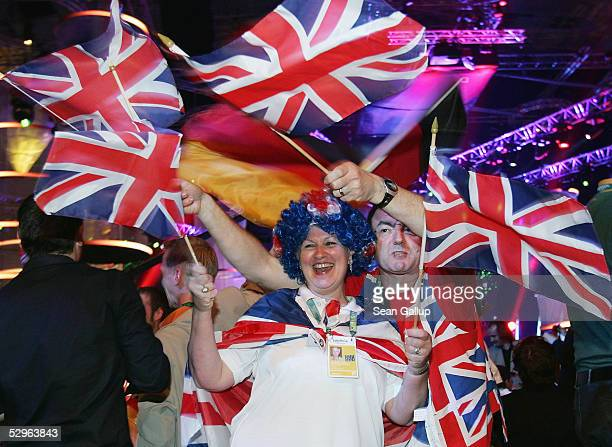 British fans arrive at the Eurovision Song Contest Grand Final at Palace Of Sports on May 21 2005 in Kiev Ukraine This year is the 50th anniversary...