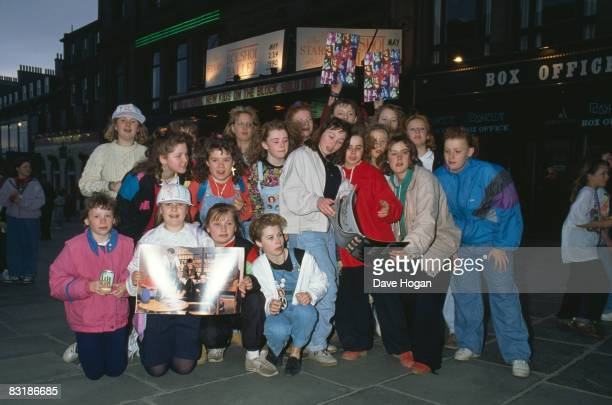 British fans of American boy band New Kids On The Block outside a venue where the group are scheduled to play 25th April 1990