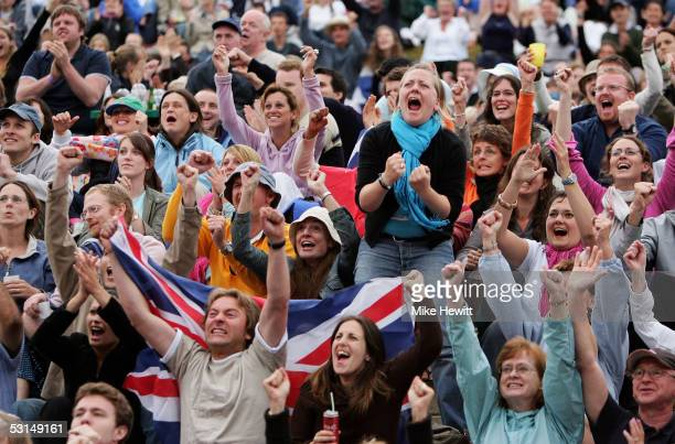 British fans on Henman Hill cheer on Andrew Murray of Great Britain in his match against David Nalbandian of Argentina during the sixth day of the...