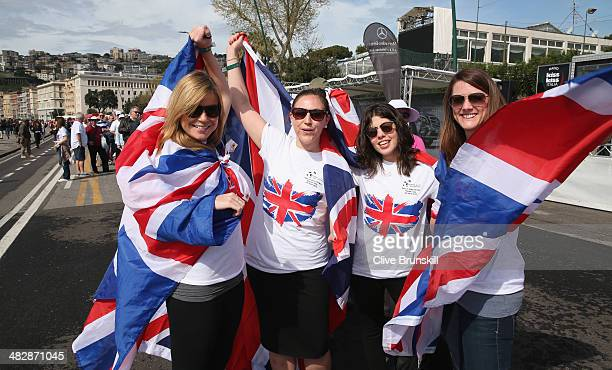 British fans queue to watch Andy Murray of Great Britain as he plays against Andreas Seppi of Italy in the second rubber during day two of the Davis...