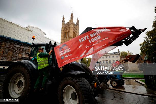 British farmers supporting the Save British Farming campaign against the government's Agriculture Bill which they say does not protect current food...