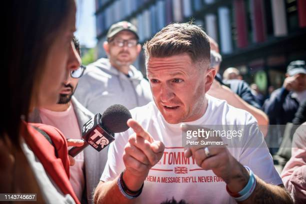British farright activist and pundit Tommy Robinson arrives at the Old Bailey on May 14 2019 in London England Mr Robinson is appearing over...