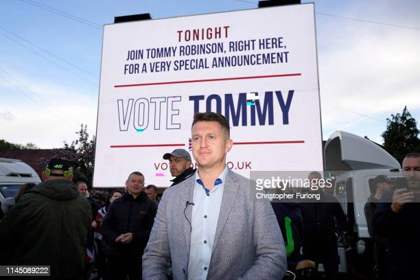 British far-right activist and pundit, Tommy Robinson speaks to supporters as he launches his election campaign for the forthcoming European...