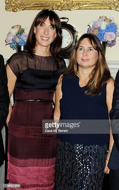 British Fashion Council ambassador Samantha Cameron and editorinchief of British Vogue Alexandra Shulman attend a reception hosted by Samantha...