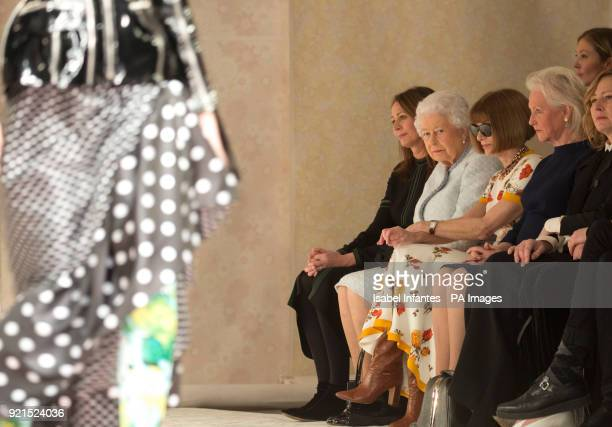 British Fashion Council chief executive Caroline Rush Queen Elizabeth II Anna Wintour and Angela Kelly sit in the front row at the Richard Quinn...