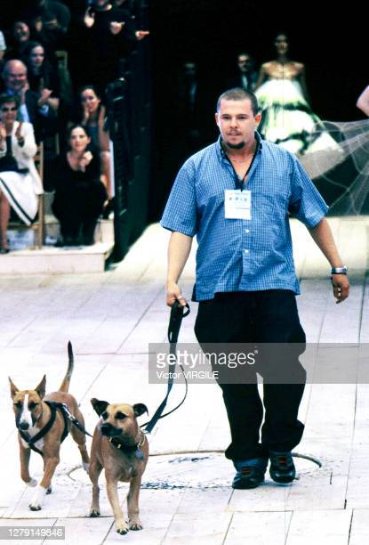 British fashion designer Alexander McQueen walks the runway during the Alexander McQueen Ready to Spring/Summer 1999 fashion show as part of the...
