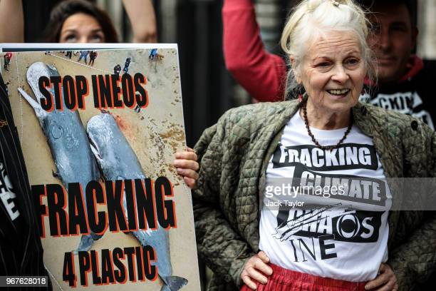 British fashion designer Dame Vivienne Westwood and her son Joe Corre stage an antifracking protest with campaigners outside Downing Street on June 5...