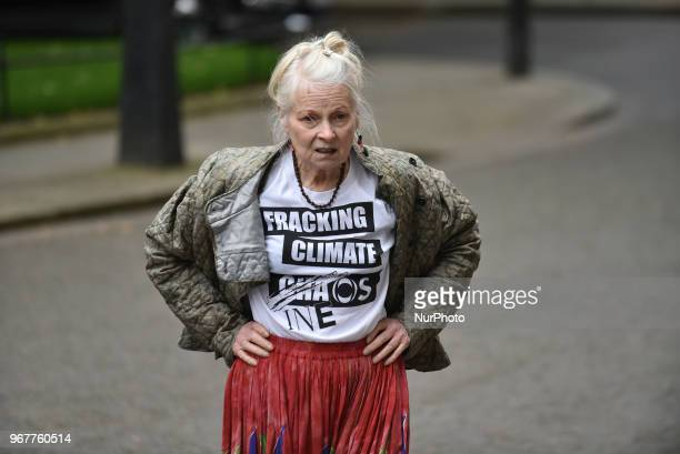 British fashion designer Dame Vivienne Westwood and her son Joe Corre stage an antifracking protest at Downing Street London on June 5 2018 The...